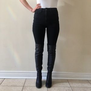 BLACK THIGH HIGH LEATHER HEELED BOOTS SIZE 6